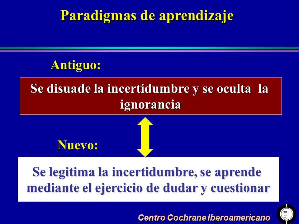 Centro Cochrane Iberoamericano Se disuade la incertidumbre y se oculta la ignorancia Se legitima la incertidumbre, se aprende mediante el ejercicio de