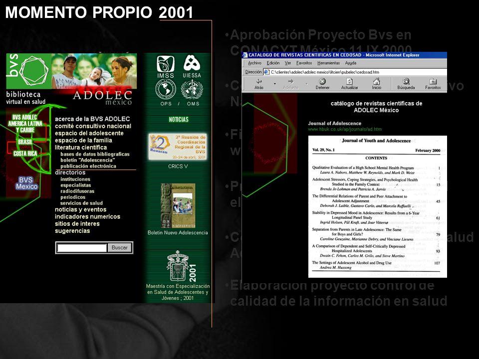 Constitución del Consejo Consultivo Nacional(15 XI 2000) Aprobación Proyecto Bvs en CONACYT México 11 IX 2000 Finalización de versión básica de www.ad