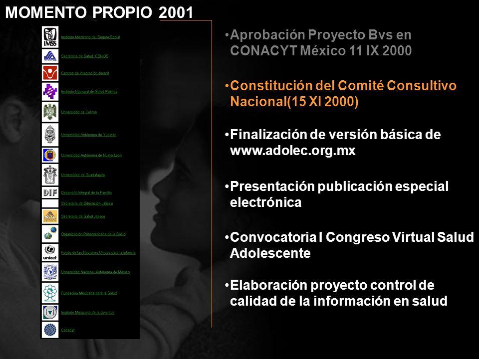 Aprobación Proyecto Bvs en CONACYT México 11 IX 2000 Finalización de versión básica de www.adolec.org.mx Presentación publicación especial electrónica