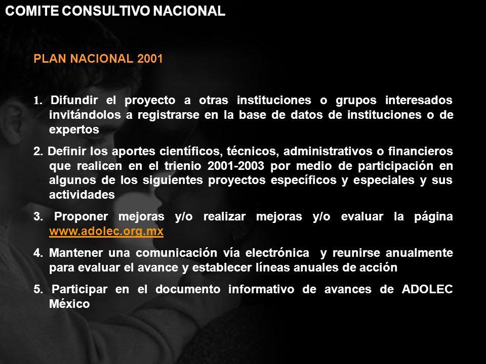 PLAN NACIONAL 2001 1. Difundir el proyecto a otras instituciones o grupos interesados invitándolos a registrarse en la base de datos de instituciones