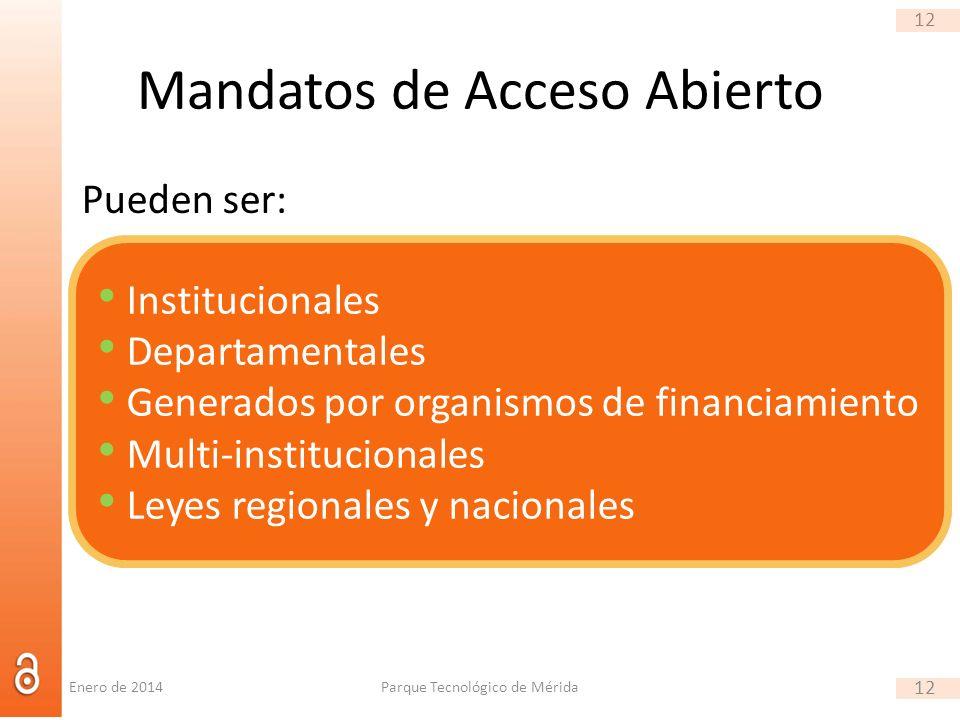 12 Mandatos de Acceso Abierto Pueden ser: Parque Tecnológico de Mérida 12 Enero de 2014 Institucionales Departamentales Generados por organismos de financiamiento Multi-institucionales Leyes regionales y nacionales