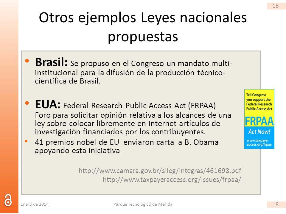 18 Otros ejemplos Leyes nacionales propuestas Brasil: Se propuso en el Congreso un mandato multi- institucional para la difusión de la producción técnico- científica de Brasil.