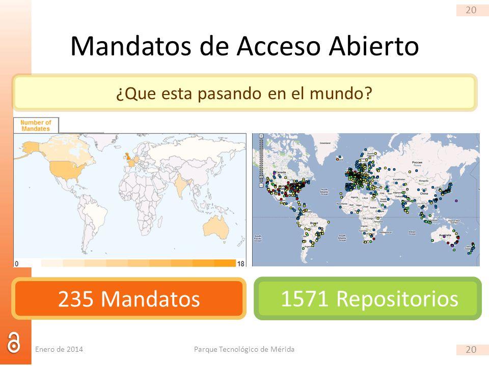 20 Mandatos de Acceso Abierto Parque Tecnológico de Mérida 20 ¿Que esta pasando en el mundo? 235 Mandatos 1571 Repositorios Enero de 2014