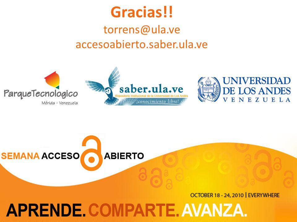 28 Gracias!! torrens@ula.ve accesoabierto.saber.ula.ve Parque Tecnológico de Mérida 28