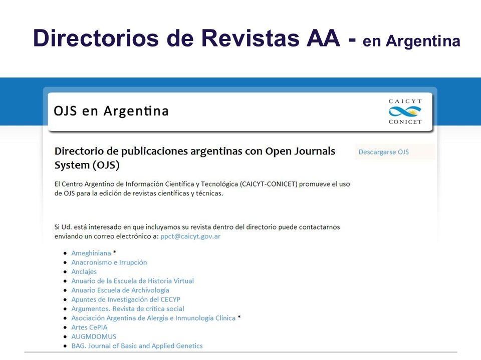 Directorios de Revistas AA - en Argentina
