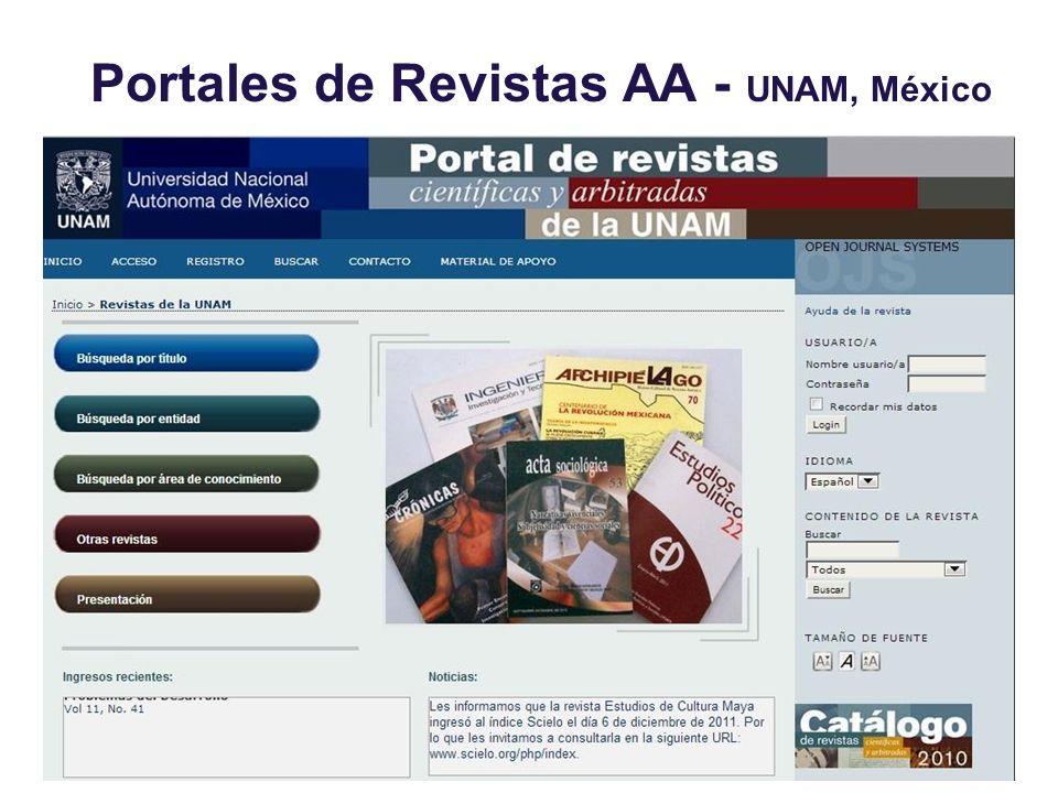Portales de Revistas AA - UNAM, México