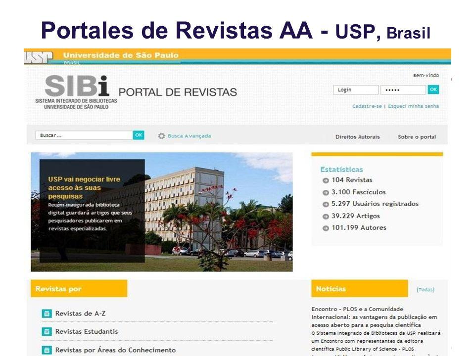 Portales de Revistas AA - USP, Brasil