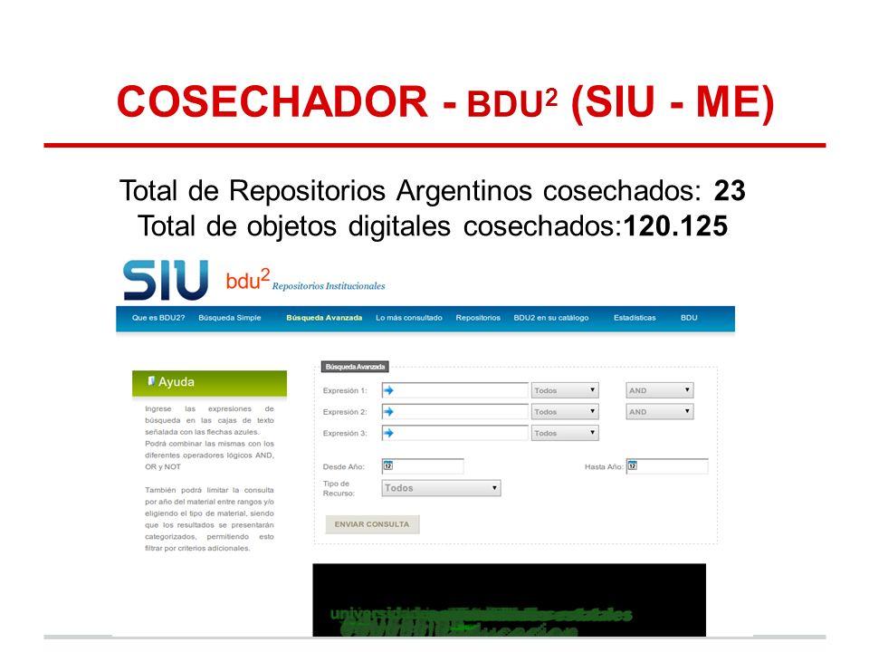 COSECHADOR - BDU 2 (SIU - ME) Total de Repositorios Argentinos cosechados: 23 Total de objetos digitales cosechados:120.125