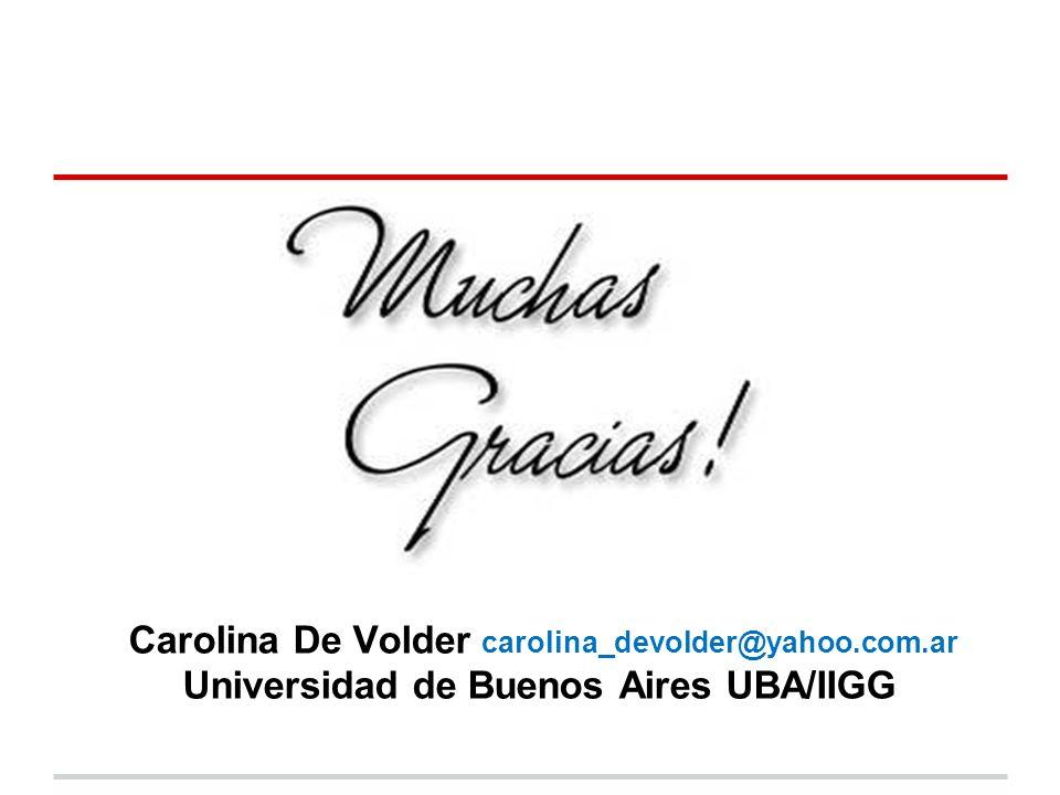 Carolina De Volder carolina_devolder@yahoo.com.ar Universidad de Buenos Aires UBA/IIGG