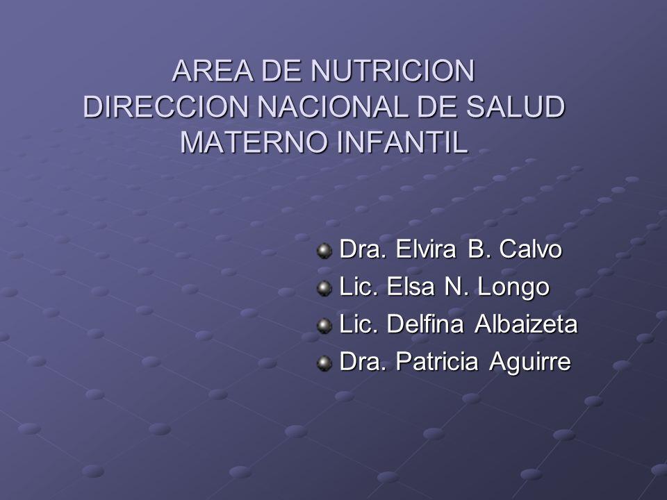 AREA DE NUTRICION DIRECCION NACIONAL DE SALUD MATERNO INFANTIL Dra. Elvira B. Calvo Lic. Elsa N. Longo Lic. Delfina Albaizeta Dra. Patricia Aguirre