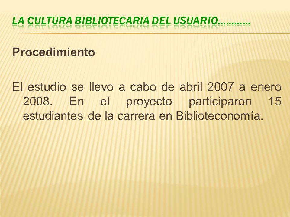 Procedimiento El estudio se llevo a cabo de abril 2007 a enero 2008. En el proyecto participaron 15 estudiantes de la carrera en Biblioteconomía.
