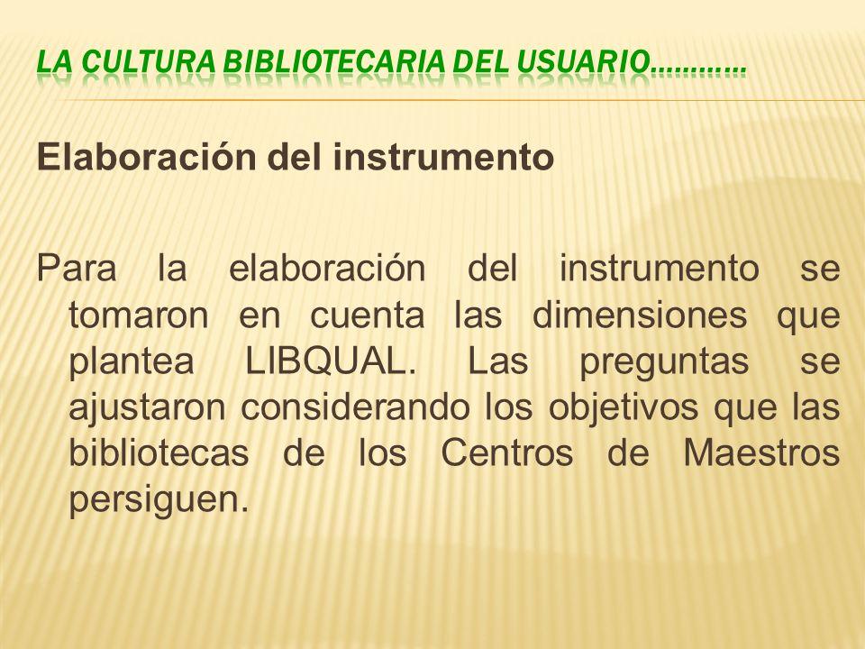 Elaboración del instrumento Para la elaboración del instrumento se tomaron en cuenta las dimensiones que plantea LIBQUAL. Las preguntas se ajustaron c