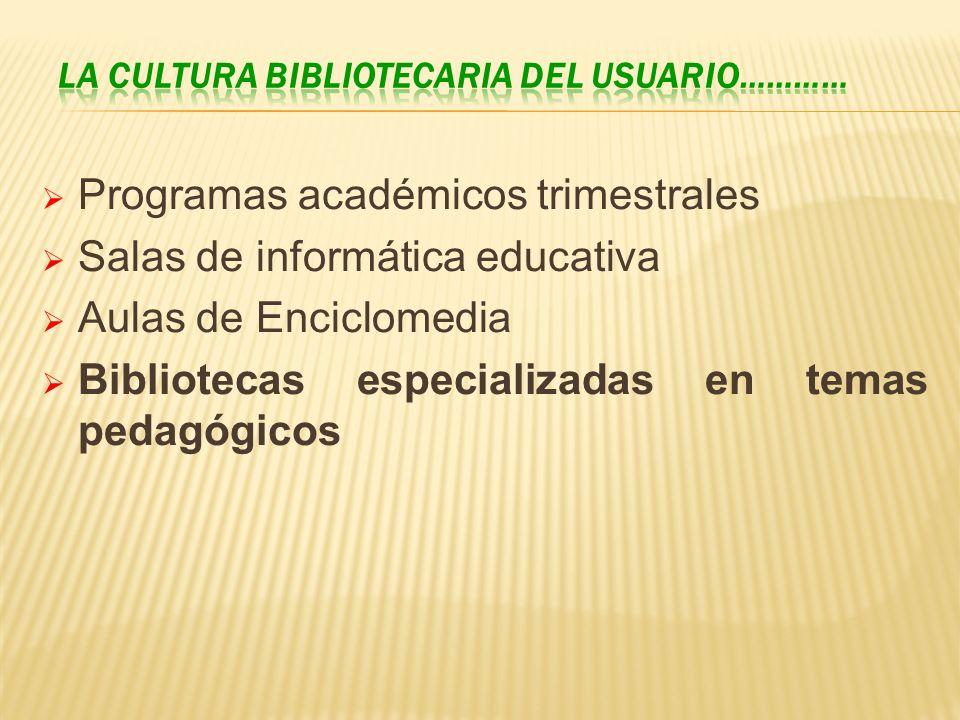 Programas académicos trimestrales Salas de informática educativa Aulas de Enciclomedia Bibliotecas especializadas en temas pedagógicos