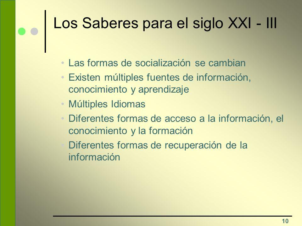 10 Los Saberes para el siglo XXI - III Las formas de socialización se cambian Existen múltiples fuentes de información, conocimiento y aprendizaje Múl