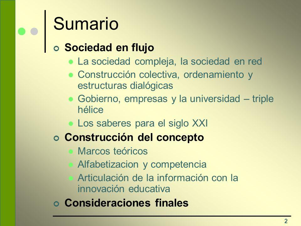 2 Sumario Sociedad en flujo La sociedad compleja, la sociedad en red Construcción colectiva, ordenamiento y estructuras dialógicas Gobierno, empresas