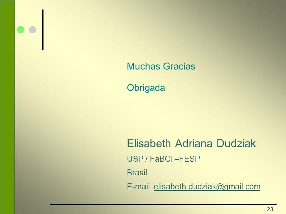 23 Muchas Gracias Obrigada Elisabeth Adriana Dudziak USP / FaBCI –FESP Brasil E-mail: elisabeth.dudziak@gmail.com