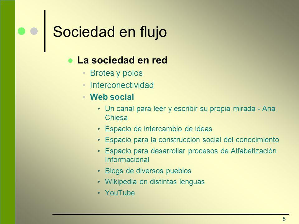 5 Sociedad en flujo La sociedad en red Brotes y polos Interconectividad Web social Un canal para leer y escribir su propia mirada - Ana Chiesa Espacio