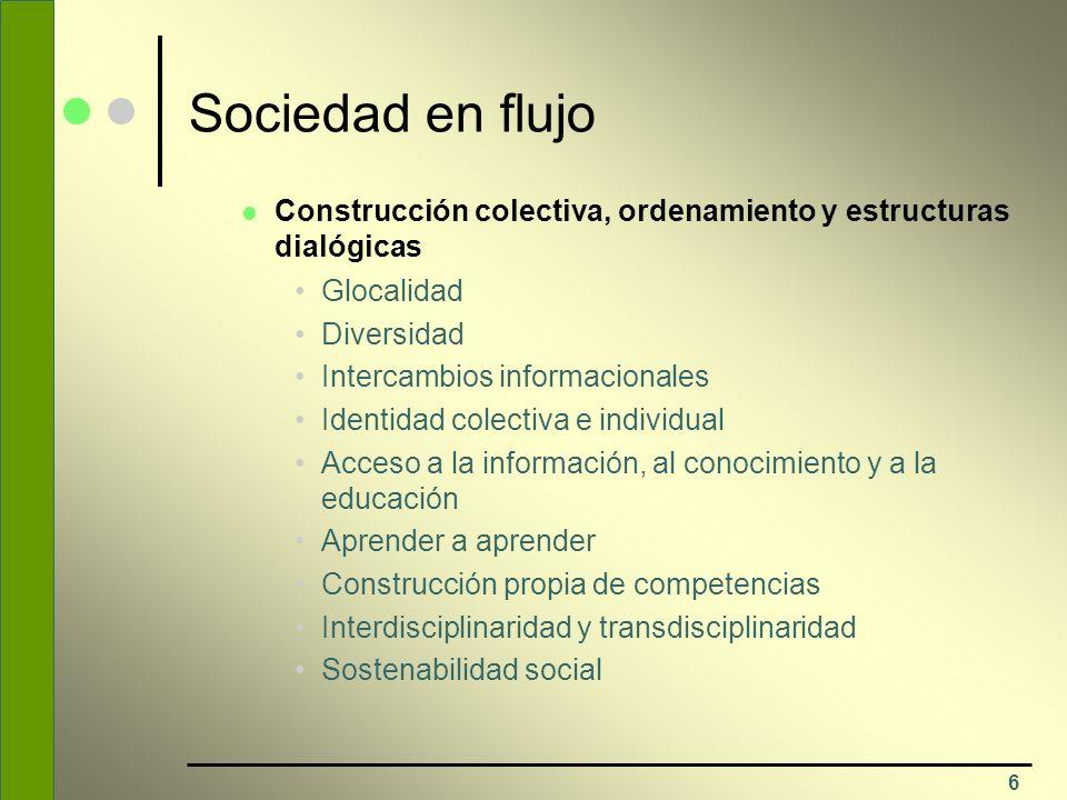 6 Sociedad en flujo Construcción colectiva, ordenamiento y estructuras dialógicas Glocalidad Diversidad Intercambios informacionales Identidad colecti
