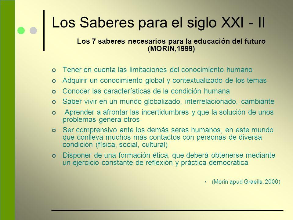 Los Saberes para el siglo XXI - II Los 7 saberes necesarios para la educación del futuro (MORIN,1999) Tener en cuenta las limitaciones del conocimient