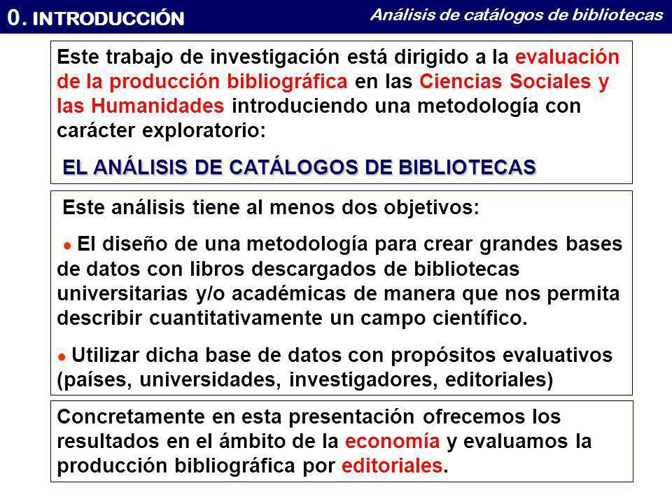 0. INTRODUCCIÓN Análisis de catálogos de bibliotecas Este trabajo de investigación está dirigido a la evaluación de la producción bibliográfica en las