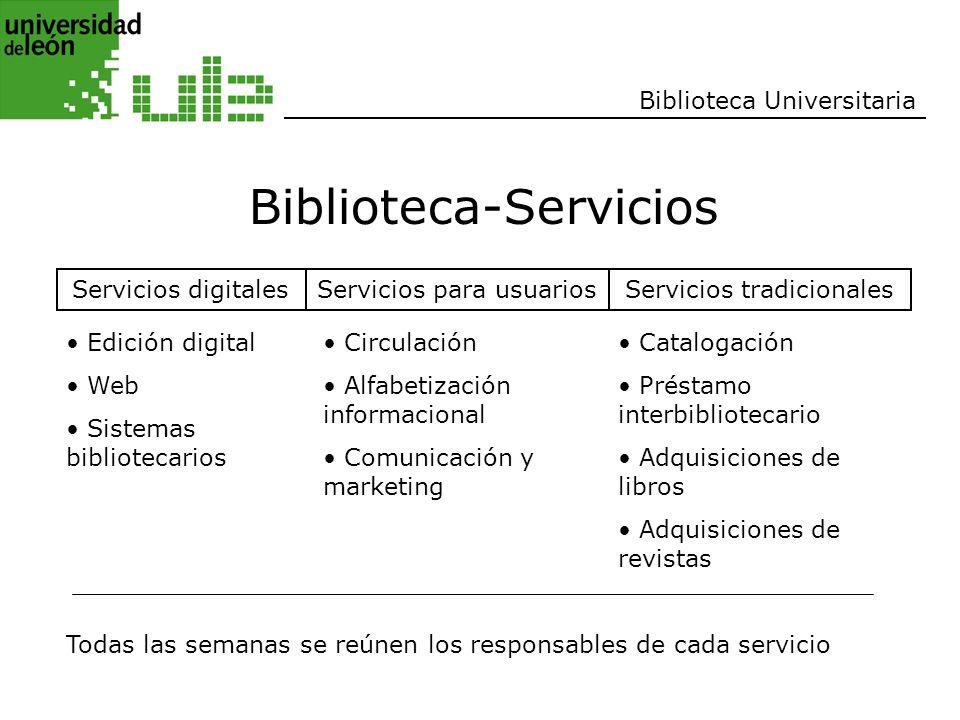 Biblioteca Universitaria Biblioteca-Servicios Servicios digitalesServicios para usuariosServicios tradicionales Edición digital Web Sistemas bibliotec