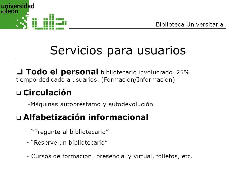 Biblioteca Universitaria Servicios para usuarios Todo el personal bibliotecario involucrado. 25% tiempo dedicado a usuarios. (Formación/Información) C