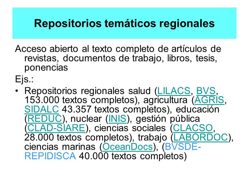 Repositorios temáticos regionales Acceso abierto al texto completo de artículos de revistas, documentos de trabajo, libros, tesis, ponencias Ejs.: Rep