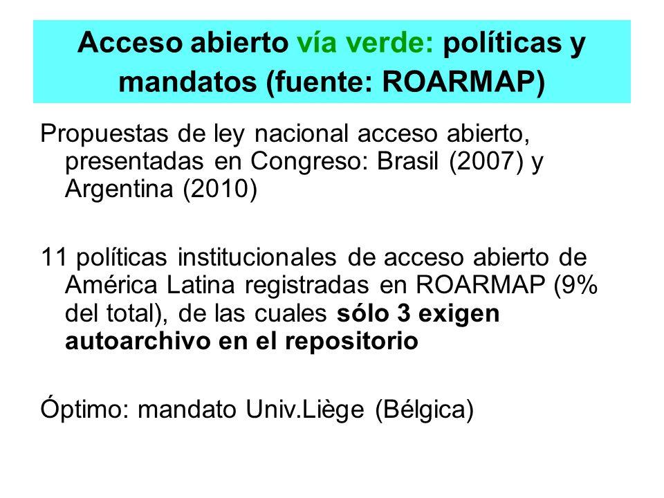 Acceso abierto vía verde: políticas y mandatos (fuente: ROARMAP) Propuestas de ley nacional acceso abierto, presentadas en Congreso: Brasil (2007) y A