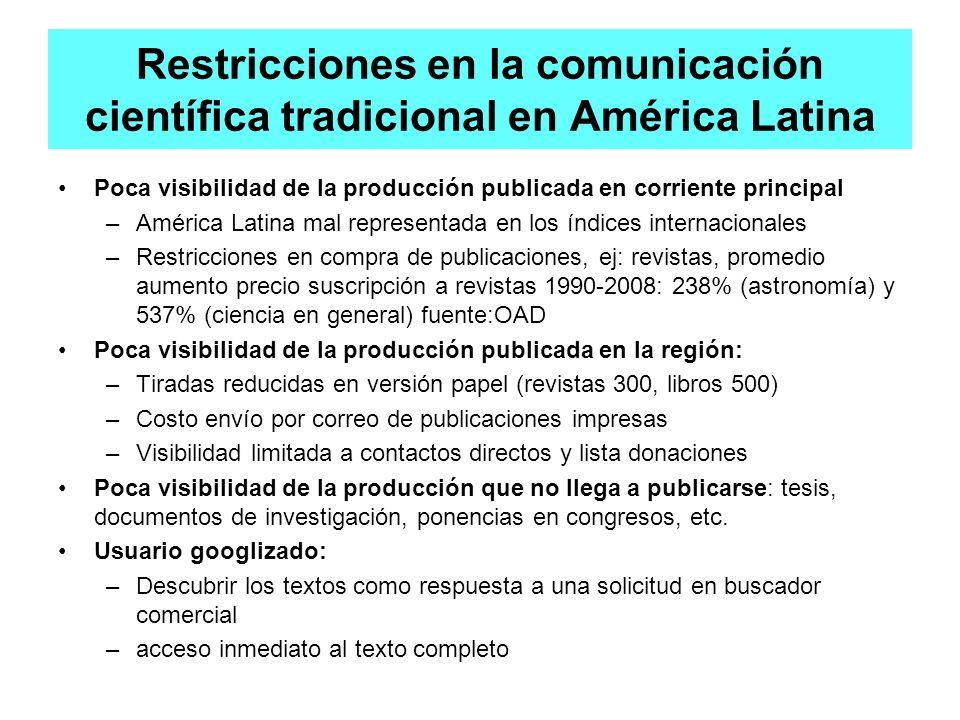 Restricciones en la comunicación científica tradicional en América Latina Poca visibilidad de la producción publicada en corriente principal –América