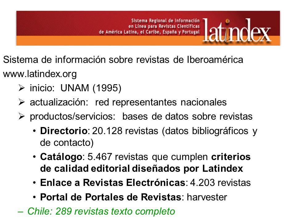 Sistema de información sobre revistas de Iberoamérica www.latindex.org inicio: UNAM (1995) actualización: red representantes nacionales productos/serv