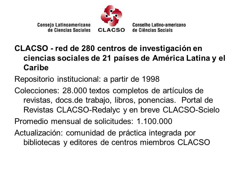 CLACSO - red de 280 centros de investigación en ciencias sociales de 21 países de América Latina y el Caribe Repositorio institucional: a partir de 19
