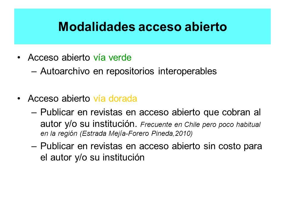 Modalidades acceso abierto Acceso abierto vía verde –Autoarchivo en repositorios interoperables Acceso abierto vía dorada –Publicar en revistas en acc