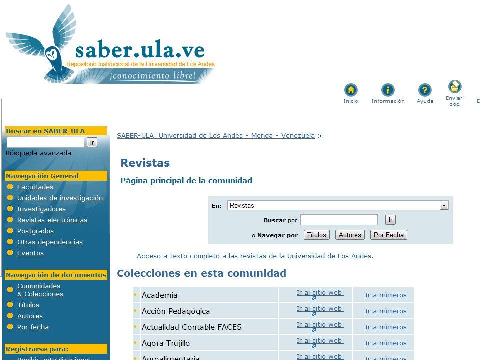 URL de iniciativas mencionadas Red CLARA http://www.redclara.net/ (en Chile: REUNA www.reuna.cl )http://www.redclara.net/www.reuna.cl –Red Federada Latinoamericana de Repositorios Institucionales http://www.redclara.net/index.php?option=com_content&view=article&id =533&Itemid=504&lang=es http://www.redclara.net/index.php?option=com_content&view=article&id =533&Itemid=504&lang=es –COLABORA Comunidad Latinoamericana de Bibliotecas y Repositorios Digitales http://www.redclara.net/index.php?option=com_content&view=article&id =847&Itemid=691&lang=es http://www.redclara.net/index.php?option=com_content&view=article&id =847&Itemid=691&lang=es Open Access Directory-OAD http://oad.simmons.edu/oadwiki/Main_Page http://oad.simmons.edu/oadwiki/Main_Page DOAJ www.doaj.orgwww.doaj.org Open J-Gate http://www.openjgate.com/Search/QuickSearch.aspx http://www.openjgate.com/Search/QuickSearch.aspx OpenDOAR http://www.opendoar.org/http://www.opendoar.org/ ROARMAP http://roarmap.eprints.org/http://roarmap.eprints.org/