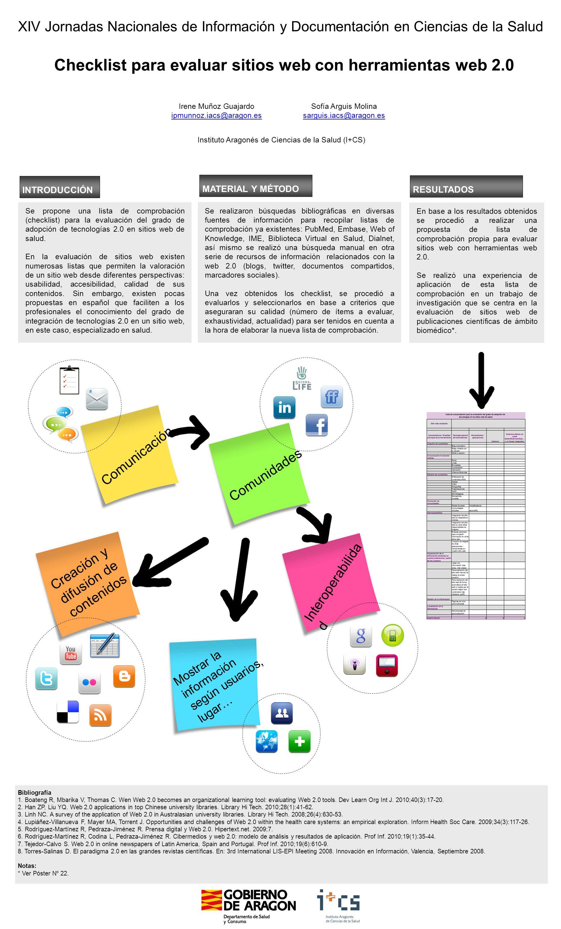 Comunidades XIV Jornadas Nacionales de Información y Documentación en Ciencias de la Salud Checklist para evaluar sitios web con herramientas web 2.0