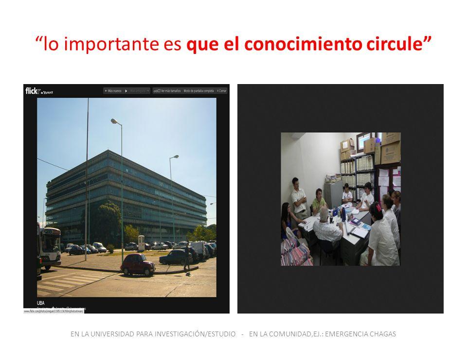 lo importante es que el conocimiento circule EN LA UNIVERSIDAD PARA INVESTIGACIÓN/ESTUDIO - EN LA COMUNIDAD,EJ.: EMERGENCIA CHAGAS
