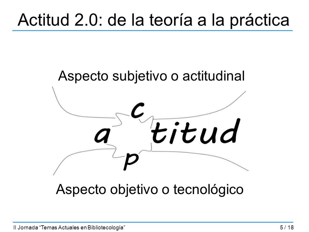 Actitud 2.0: de la teoría a la práctica Aspecto subjetivo o actitudinal Aspecto objetivo o tecnológico II Jornada Temas Actuales en Bibliotecología5 /