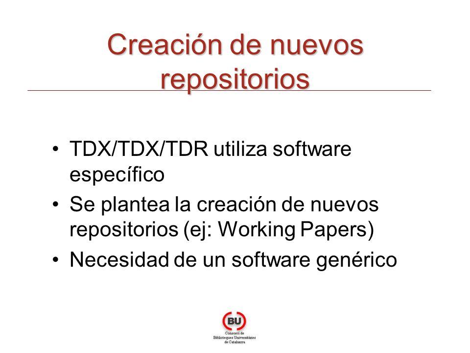 Creación de nuevos repositorios TDX/TDX/TDR utiliza software específico Se plantea la creación de nuevos repositorios (ej: Working Papers) Necesidad d