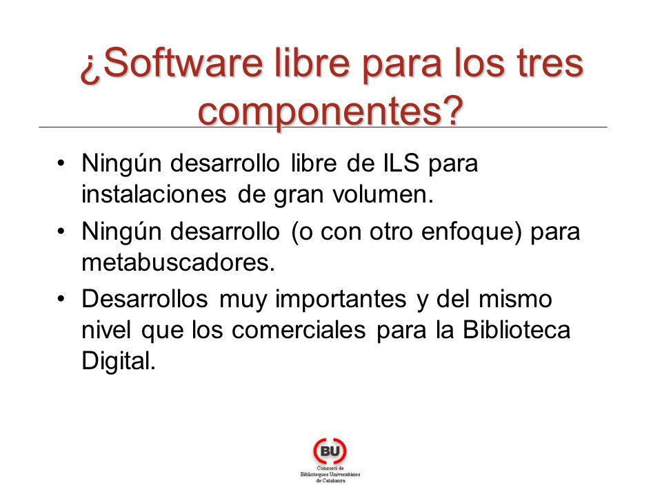 ¿Software libre para los tres componentes? Ningún desarrollo libre de ILS para instalaciones de gran volumen. Ningún desarrollo (o con otro enfoque) p