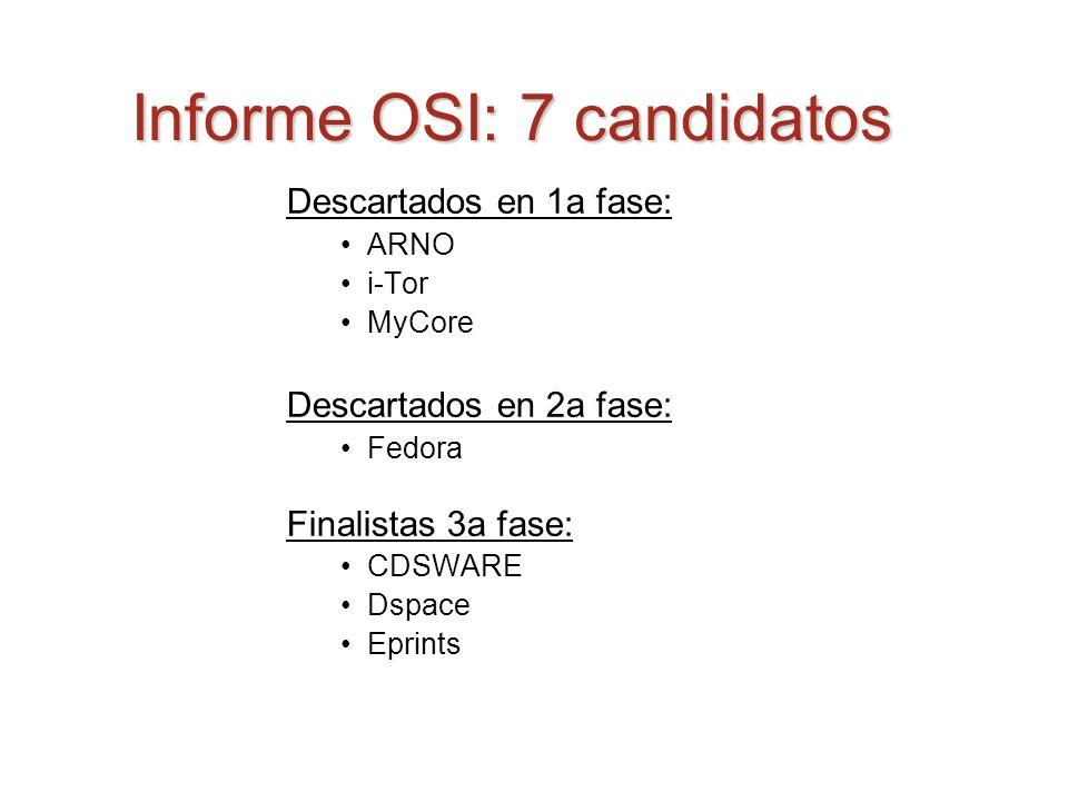 Informe OSI: 7 candidatos Descartados en 1a fase: ARNO i-Tor MyCore Descartados en 2a fase: Fedora Finalistas 3a fase: CDSWARE Dspace Eprints