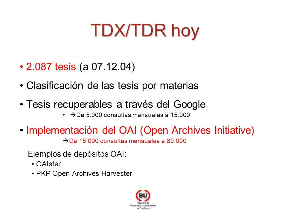 2.087 tesis (a 07.12.04) Clasificación de las tesis por materias Tesis recuperables a través del Google De 5.000 consultas mensuales a 15.000 Implementación del OAI (Open Archives Initiative) De 15.000 consultas mensuales a 80.000 Ejemplos de depósitos OAI: OAIster PKP Open Archives Harvester TDX/TDR hoy