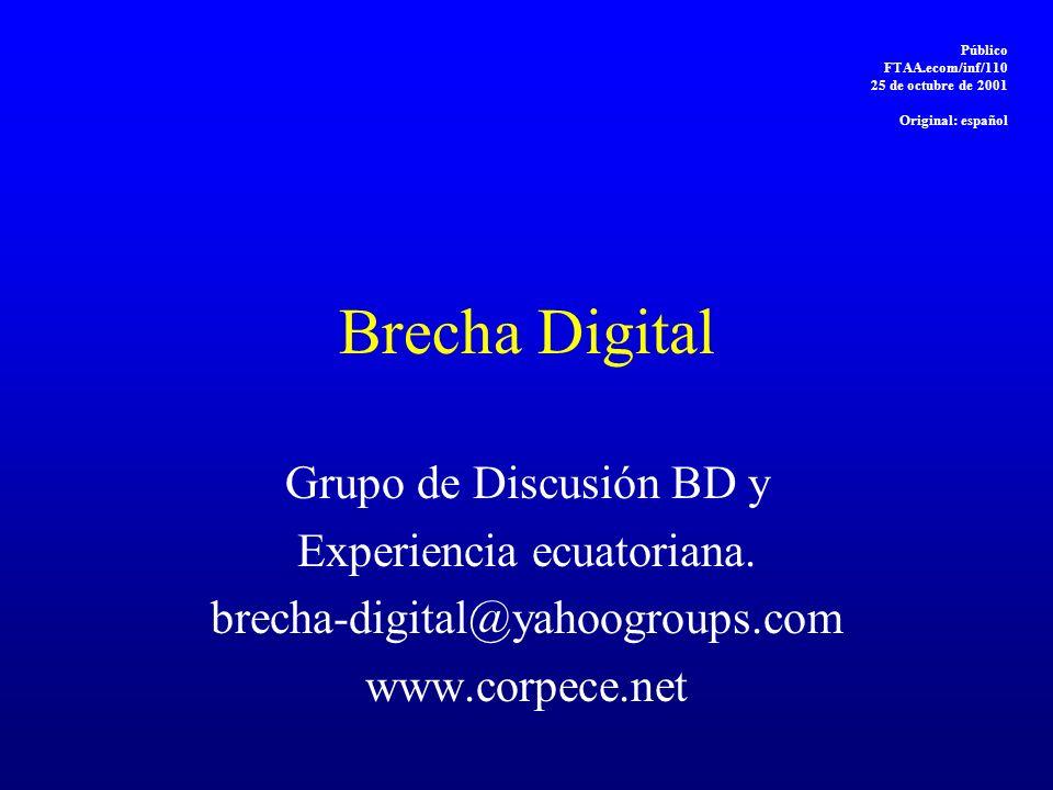 Brecha Digital Grupo de Discusión BD y Experiencia ecuatoriana. brecha-digital@yahoogroups.com www.corpece.net Público FTAA.ecom/inf/110 25 de octubre