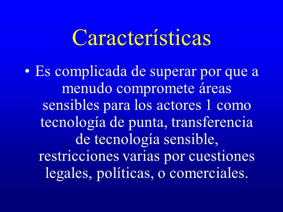 Características Es complicada de superar por que a menudo compromete áreas sensibles para los actores 1 como tecnología de punta, transferencia de tec