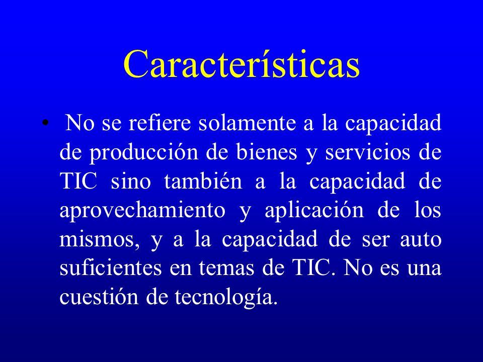 Características No se refiere solamente a la capacidad de producción de bienes y servicios de TIC sino también a la capacidad de aprovechamiento y apl