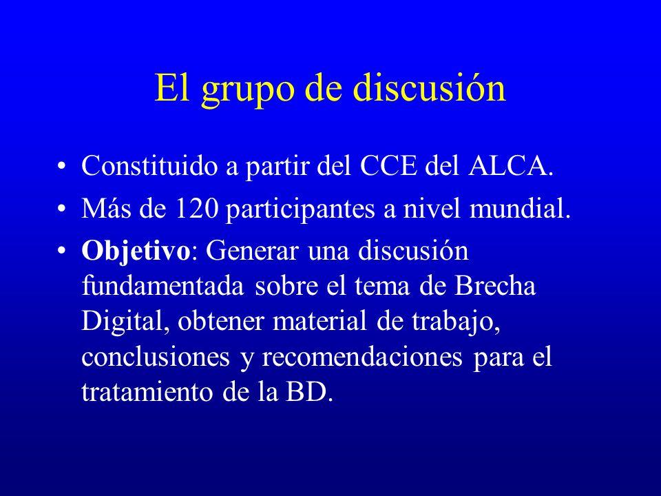 El grupo de discusión Constituido a partir del CCE del ALCA. Más de 120 participantes a nivel mundial. Objetivo: Generar una discusión fundamentada so