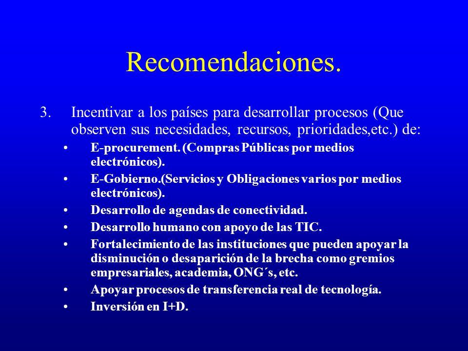 Recomendaciones. 3.Incentivar a los países para desarrollar procesos (Que observen sus necesidades, recursos, prioridades,etc.) de: E-procurement. (Co