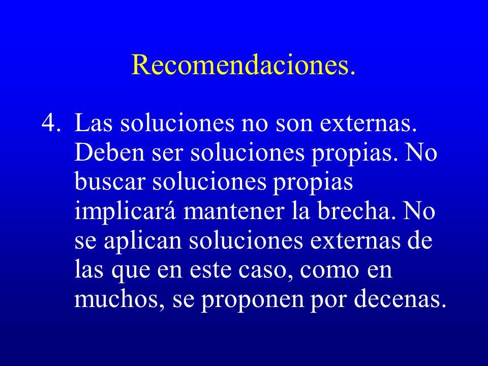 Recomendaciones. 4.Las soluciones no son externas. Deben ser soluciones propias. No buscar soluciones propias implicará mantener la brecha. No se apli