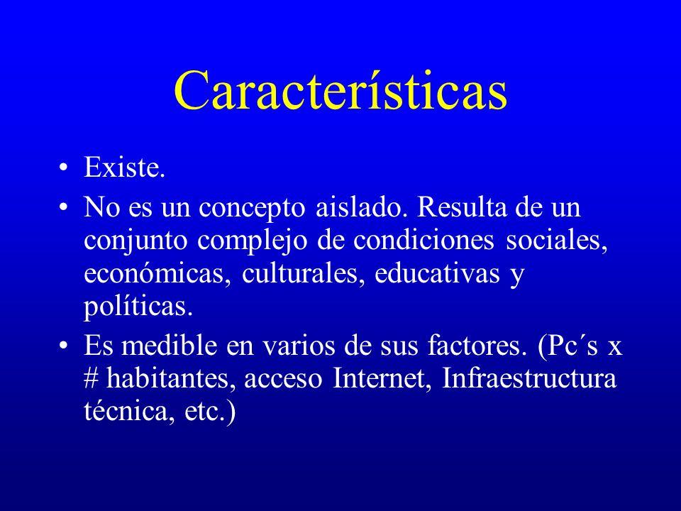 Características Existe. No es un concepto aislado. Resulta de un conjunto complejo de condiciones sociales, económicas, culturales, educativas y polít