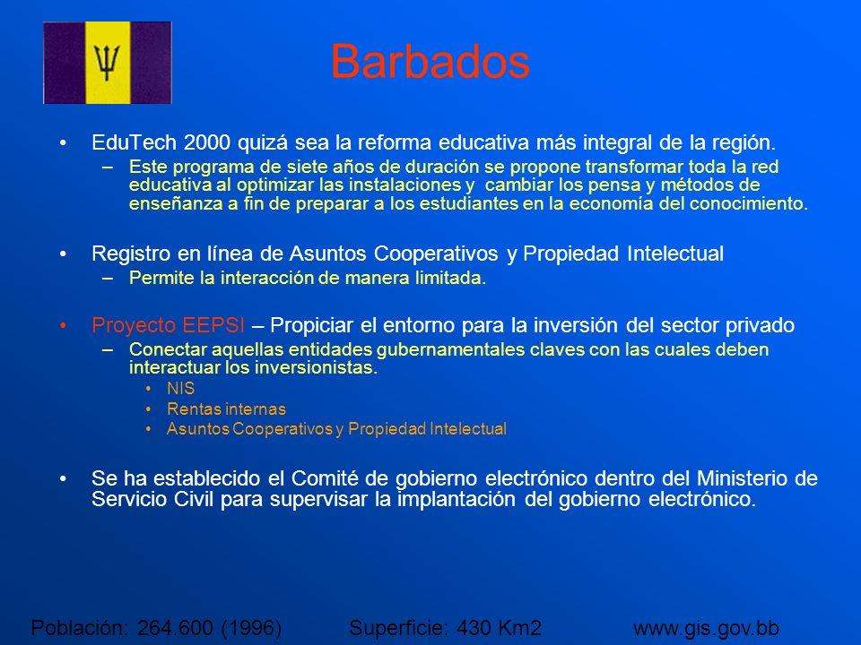 Barbados EduTech 2000 quizá sea la reforma educativa más integral de la región. –Este programa de siete años de duración se propone transformar toda l