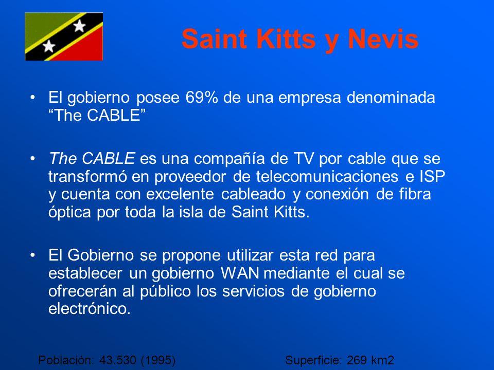 Saint Kitts y Nevis El gobierno posee 69% de una empresa denominada The CABLE The CABLE es una compañía de TV por cable que se transformó en proveedor