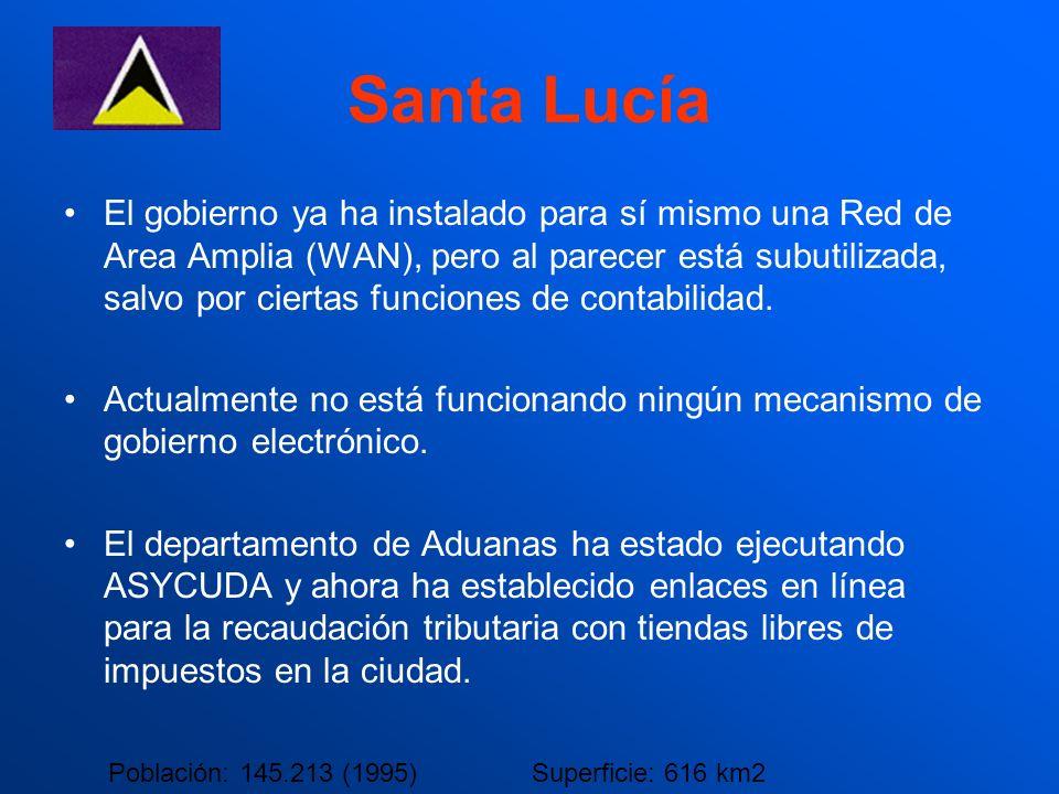 Santa Lucía El gobierno ya ha instalado para sí mismo una Red de Area Amplia (WAN), pero al parecer está subutilizada, salvo por ciertas funciones de